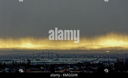 Glasgow, Scotland, UK  7th December. UK Weather: Storm Caroline over the southern hills and Whitelee Wind farm and - Stock Photo