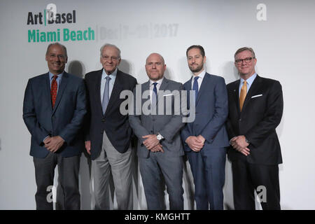 MIAMI BEACH, FLORIDA - Dec 06: Dan Gelber, Mayor of Miami Beach, (from L), Norman Braman, Chairman of Art Basel - Stock Photo