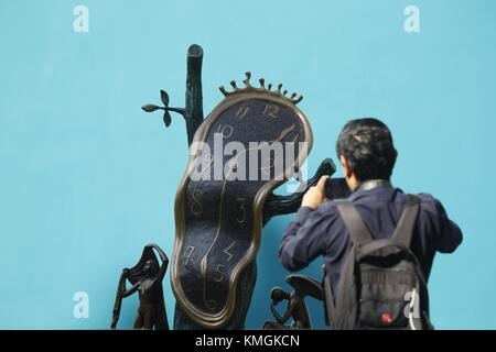 Mexico City, Mexico. 16th Aug, 2017. A view of the sculpture 'The Nobility of Time' by Spanish artist Salvador Dali - Stock Photo
