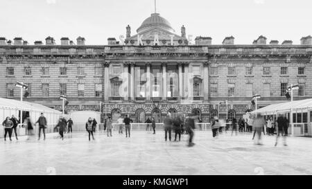 London, United Kingdom. 7th Dec, 2017. Skaters enjoy skating at Somerset House on a cold December day.@greeneyedlens/Alamy - Stock Photo