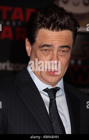 Los Angeles, USA . 09th Dec, 2017. Benicio Del Toro  12/09/2017 The World Premiere of Lucasfilm's 'Star Wars: The - Stock Photo