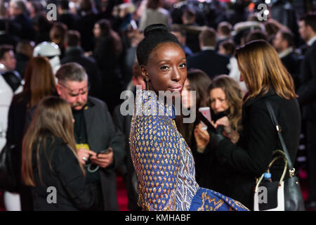 London, UK. 12th Dec, 2017. Eunice Olumide arrives for the European film premiere of 'Star Wars: The Last Jedi' - Stock Photo