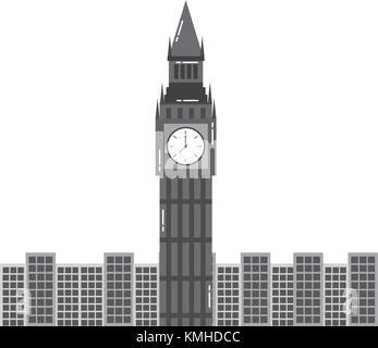 london big ben clock tower famous building city - Stock Photo