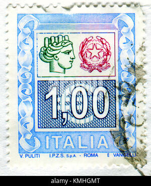 GOMEL, BELARUS, 4 DECEMBER 2017, Stamp printed in Italy shows image of the Republica Italiana, circa 2017. - Stock Photo