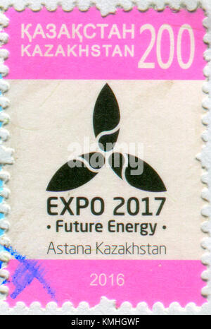 GOMEL, BELARUS, 6 DECEMBER 2017, Stamp printed in Kazakhstan shows image of the EXPO 2017, circa 2016. - Stock Photo