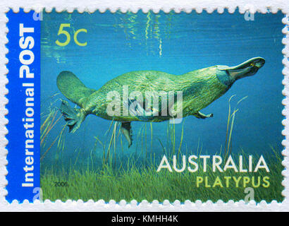 GOMEL, BELARUS, 5 DECEMBER 2017, Stamp printed in Australia shows image of the Platypus, circa 2006. - Stock Photo