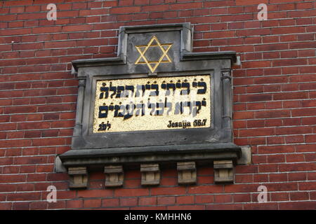 Star of David and Biblical text on the late 19th century Jewish synagogue at Samuel Hirschstraat in central Zwolle, - Stock Photo
