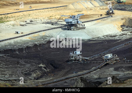 open pit coal mine with heavy machinery