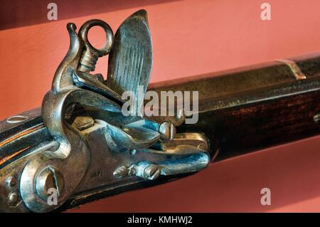 Abbotsford, Sir Walter Scott's home, Borders, Scotland. Rob Roy's flintlock musket, part of Scott's collection in - Stock Photo