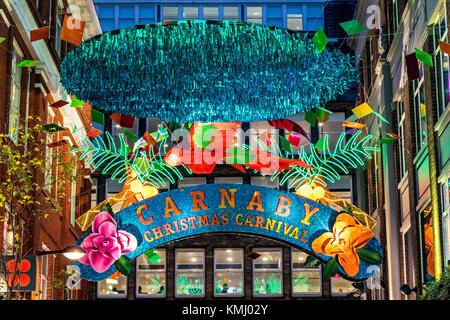 Carnaby St Tropical Themed Christmas Decorations , Soho ,Christmas 2017 - Stock Photo