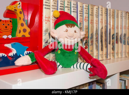 'Elf on a shelf' Christmas soft toy, Surrey, England, United Kingdom - Stock Photo