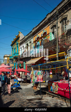 Market and colourful buildings, La Boca, Buenos Aires, Argentina, South America - Stock Photo
