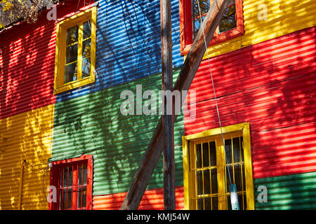Colourful corrugated iron buildings, La Boca, Buenos Aires, Argentina, South America - Stock Photo