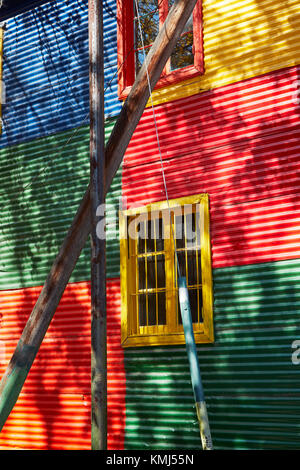 Colourful corrugated iron buildings, La Boca, Buenos Aires, Argentina, South America