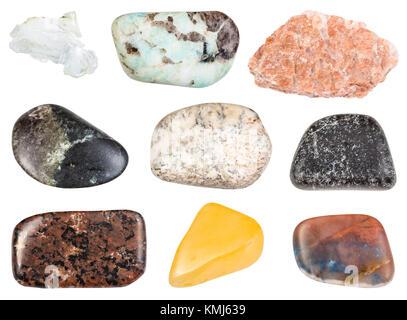 collection of natural mineral specimens - set of various tumbled stones (aventurine, albite, pegmatite, urtite, - Stock Photo