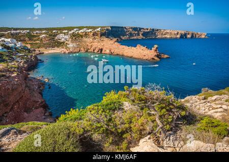 Cala Morell Bay. Ciutadella de Menorca Municipality. Minorca. Balearic Islands. Spain - Stock Photo