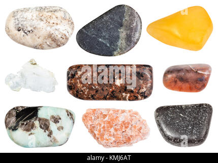 collection of natural mineral specimens - set of various polished stones (aventurine, albite, pegmatite, urtite, - Stock Photo