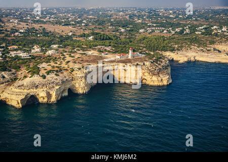 Alfanzina lighthouse. Carvoeiro. Lagoa Municipality. Faro district. Algarve. Portugal - Stock Photo