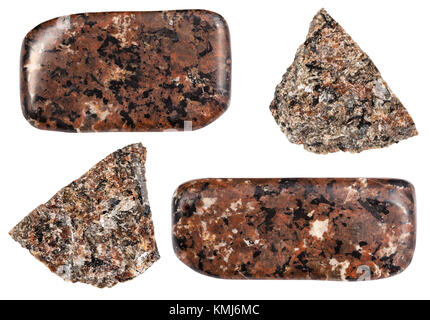collection of natural mineral specimens - various Urtite stones isolated on white background - Stock Photo
