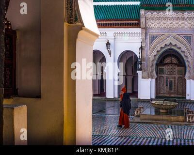 Morocco, Fes, Mosque and University of al-Qarawiyyin, also written Al Quaraouiyine or Al-Karaouine, is a university - Stock Photo