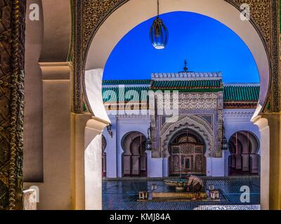Morocco, Fes, Al Quaraouiyine Mosque and University. University of al-Qarawiyyin, also written Al Quaraouiyine or - Stock Photo