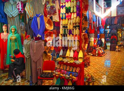 Morocco, Fes, in one of the many souk of the ''Medina'' (old part) of Fes. - Stock Photo