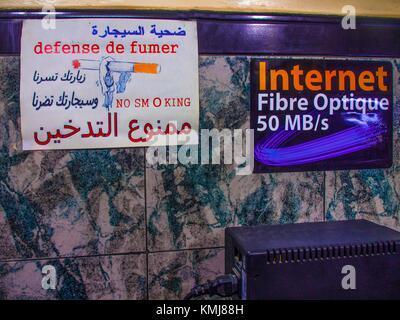 Morocco, Fes, 'No Smoking' sign in an Internet Café. - Stock Photo