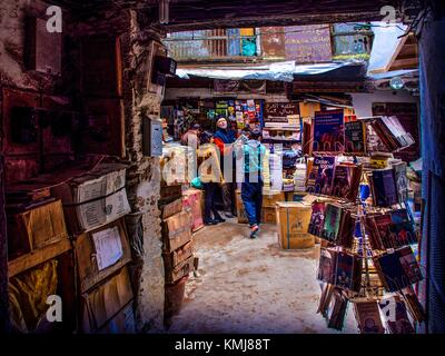 Morocco, Fes, Benani Old books shop, Attarine Souk,in the 'Medina' (old part) of Fes. - Stock Photo