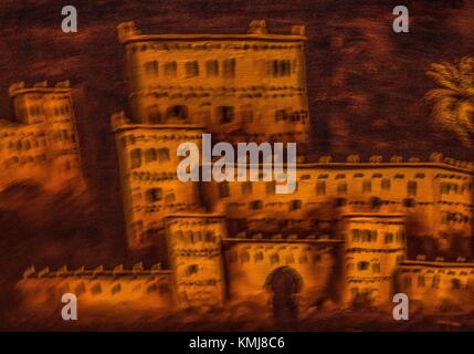Morocco, naïf interpretation of Kasbah from the south. - Stock Photo