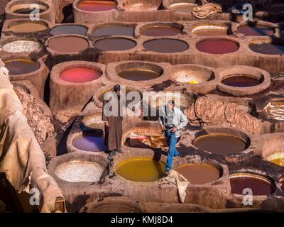 Morocco, Fes, Chouara Tannery in the 'Medina' (old part) of Fes. - Stock Photo