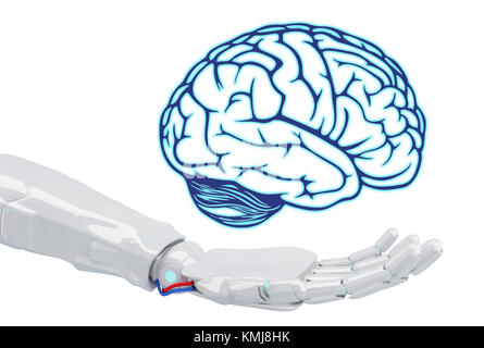 White robot hand holding virtual brain isolated on white. Artificial Intelligence concept. 3d rendering. - Stock Photo
