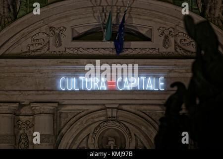 Torino, Italy. Luci d'artista (Artist Lights). Artwork: Cultura=Capitale, Alfredo Jaar - Stock Photo