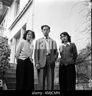 King Bhumibol with his mother and his elder sister at Villa Vadhana - Stock Photo