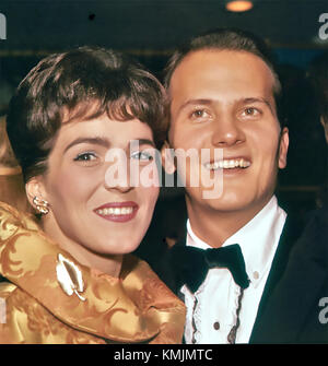 PAT BOONER  US singer with his wife Shirley about 1962 - Stock Photo