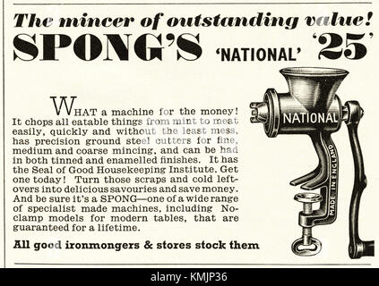 1950s old vintage original advert british magazine print advertisement advertising Spong mincer dated 1958 - Stock Photo