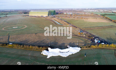 The wreckage of the Airlander,the world's longest aircraft,on Sunday morning November 19th in Cardington, Bedfordshire - Stock Photo