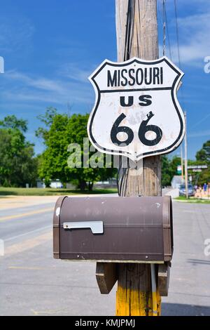 Historic route 66 highway sign in Missouri, USA. - Stock Photo
