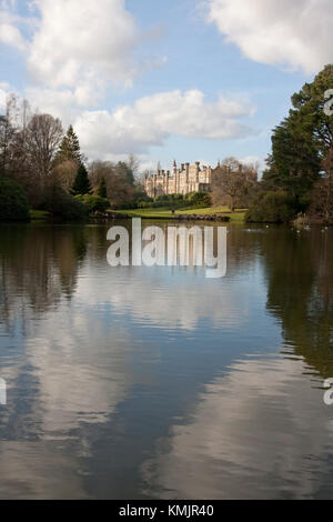 Sheffield Park House and Ten Foot Pond, Uckfield, East Sussex - Stock Photo