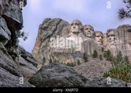 National memorial at Mount Rushmore, South Dakota of outstanding and famous American Presidents - Stock Photo