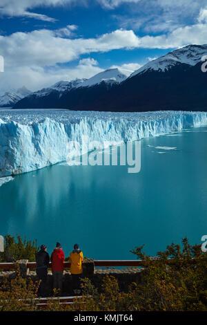 Tourists on walkway and Perito Moreno Glacier, Parque Nacional Los Glaciares (World Heritage Area), Patagonia, Argentina, - Stock Photo