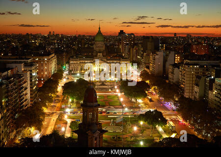 Sunset over Plaza del Congreso, and Palacio del Congreso, from Palacio Barolo, Buenos Aires, Argentina, South America - Stock Photo