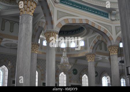 INTERIOR OF HAZRAT SULTAN MOSQUE, ASTANA, KAZAKHSTAN. - Stock Photo