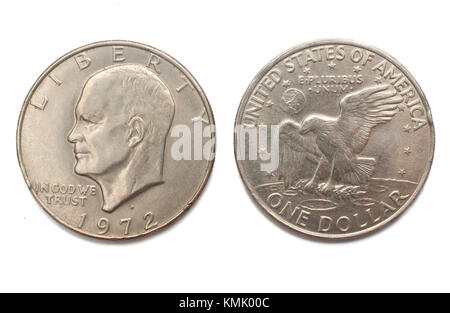 Eisenhower one dollar (1972) silver coin isolated on white background - Stock Photo