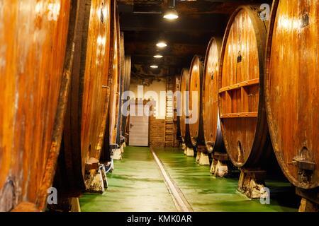Cider barrels, Sidreria Petritegi, Astigarraga, Gipuzkoa, Basque Country, Spain, Europe - Stock Photo