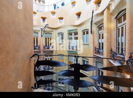 Casa Mila or La Pedrera courtyard, designed by Antoni ...