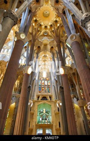 La Sagrada Familia Church, by the architect Antoni Gaudi, Eixample district, Barcelona, Catalonia, Spain