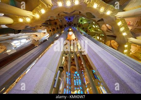 La Sagrada Familia Church, by the architect Antoni Gaudi, Eixample district, Barcelona, Catalonia, Spain - Stock Photo