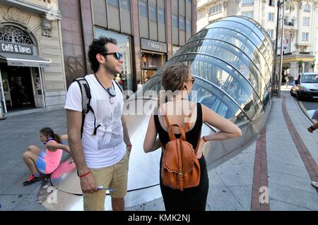 Subway entrance (aka ´fosterito´) by architect Norman Foster, Bilbao. Biscay, Basque Country, Spain - Stock Photo
