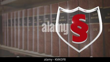 Digital composite of Law books with section shield symbol icon - Stock Photo