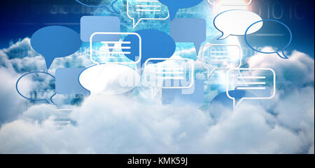 Various speech bubble symbols against brain interface in blue with binary code - Stock Photo